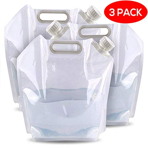 3x Faltkanister & faltbarer Camping Wasserkanister mit 5 Liter Wassertank – Outdoor Falt-Kanister, Wasserspender, Trinkwasserkanister & Wasserbehälter zur Wasser Aufbewahrung mit Zapf-Hahn, wasser kanister / behälter