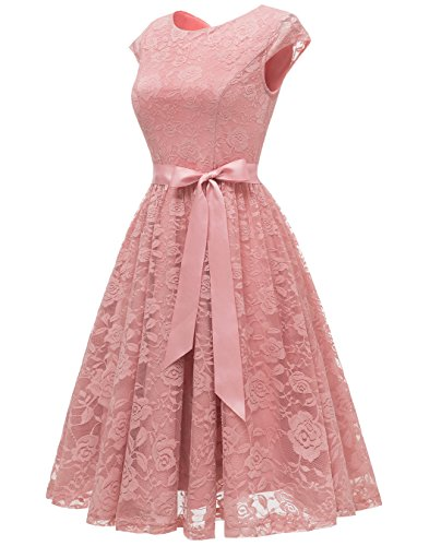 31f08a1ec2 Berylove Women s Floral Lace Short Bridesmaid Dress Cap Sleeve Cocktail  Party Dress