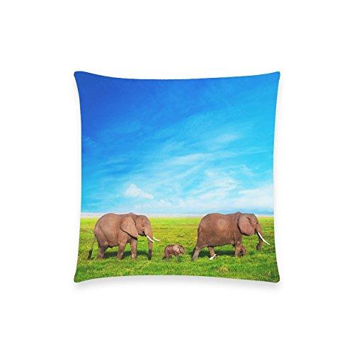Tina's Store Funda de almohada estampada de elefantes de 45,7 x 45,7...