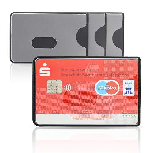 WallTrust RFID NFC Blocker Schutzhülle - Kartenschutzhülle für Kreditkarten, 3er Set, transparente Vorderseite