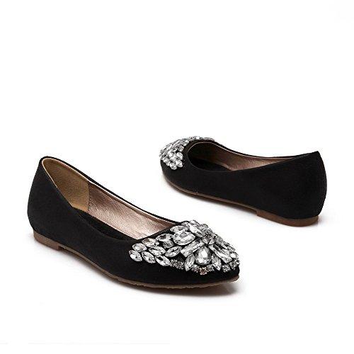 AllhqFashion Femme Tire Pointu Non Talon Microfibre Couleur Unie Chaussures à Plat Noir