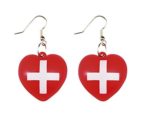 n Motto-Party Karneval Ohrringe Krankenschwester, erste Hilfe, Rot (Katze Krallen Für Halloween)