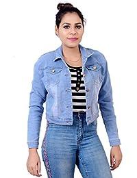 Ajaero Denim Solid Jacket for Women 529_Denim_Jacket_AONE-$P
