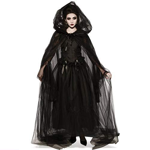 Sloater Halloween Kostüm Teufel Damen Kleid Vampir Damen Elegant Schwarz mit Tüll Kleid Damen Halloween Kostüm Dracula Schwarzer Engel (Kleid+2X Ärmel+Mütze+Band) (Eleganter Teufel Kostüm)