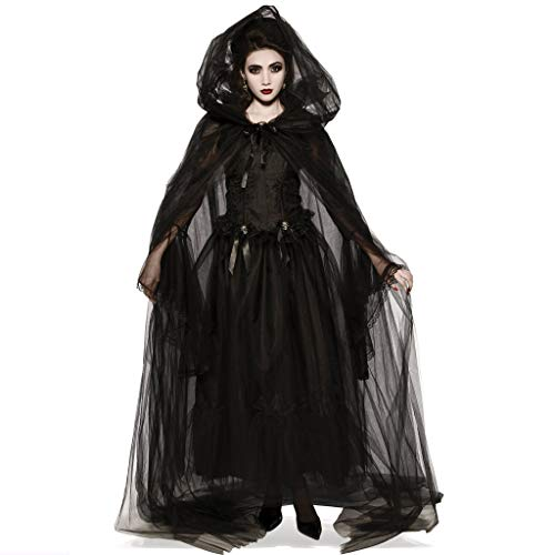 Kostüm Königin Teufels - Sloater Halloween Kostüm Teufel Damen Kleid Vampir Damen Elegant Schwarz mit Tüll Kleid Damen Halloween Kostüm Dracula Schwarzer Engel (Kleid+2X Ärmel+Mütze+Band)