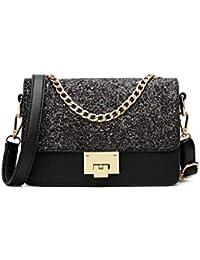 ac78c64682640 Fishbag Taschen Damen Elegant Hochzeit Leder PU Handtaschen Pailetten mit  Kettenhenkel Clutches Glitzer Mode Schultertaschen für…