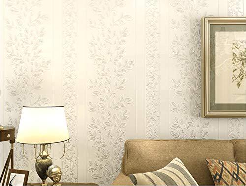 ModernMinimalist Vliestapete Roll Garden Leaves Vines Stripes Wallpaper für TV-Hintergrund Wall Bedroom 0,53 X 10M, Weiß GE21701 -