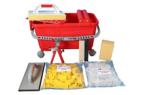 Balleo Fliesen Nivelliersystem 100 Laschen 100 Keile Metallzange und Fliesenwaschset + Fliesenlegerwerkzeuge