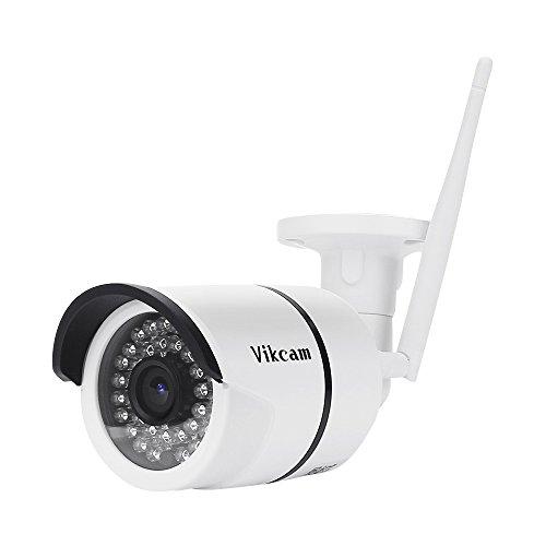 Telecamera esterno wifi, vikcam ip camera da sicurezza senza fili 720p impermeabile videocamera di sorveglianza con allarme di rilevazione di movimento, 36 led, 20m di distanza, visione notturna all'aperto, h.264, ir-cut, onvif, p2p compatibile con smartphones