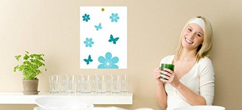 Magnettafel für Kochchips Rezeptchiphalter für Thermomix Blumen türkis - Türkis Küchenmaschine