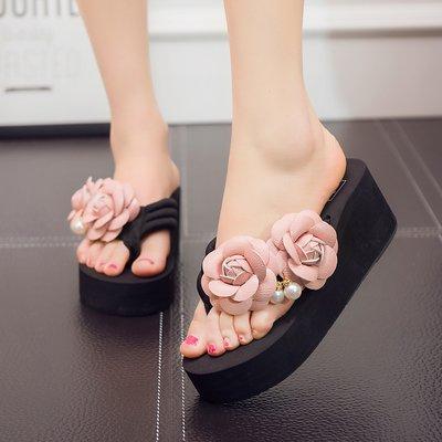 Aldo-flip-flops (FLYRCX Damen Sommer handgemachten Blumen flip flops flip flops Strand sandals DIY Hausschuhe, 37, b)