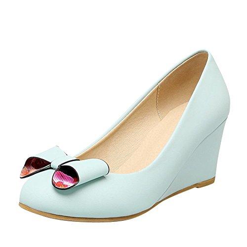 Mee Shoes Damen süß Keilabsatz runde Pumps Blau