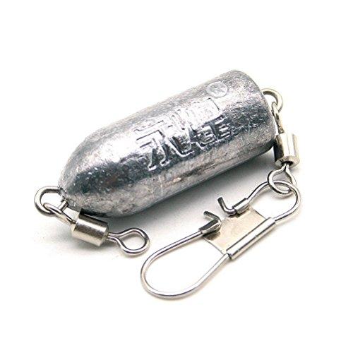 Ndier Pêche Sinker 12.5cm Premium Poisson appât Crochet Shank connecteur Poids de Balle de Plomb Attirail de pêche avec de l'argent Fishiness 100 g Articles Produits Sport