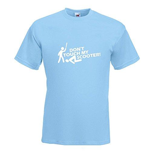 KIWISTAR - Dont touch Scooter Design 2 T-Shirt in 15 verschiedenen Farben - Herren Funshirt bedruckt Design Sprüche Spruch Motive Oberteil Baumwolle Print Größe S M L XL XXL Himmelblau