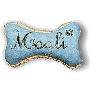 LunaChild Handmade Hunde Spielzeug Kissen Knochen Hundeknochen Quitscher Rassel blau mit Name Wunschname Größe XXS XS S M L XL oder XXL personalisiert Geschenk