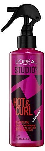 L'Oréal Studio Line Hot & Curl Thermo-Locken-Spray, Hitzeschutzspray für Styling mit Lockenstab oder Föhn, 200 ml