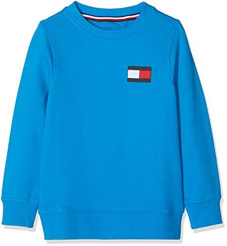 Tommy Hilfiger Jungen U Flag Sweatshirt, Blau (Brilliant Blue 417), 140 (Herstellergröße: 10) Kinder Sweatshirt Flag