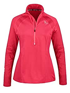 Time To Run Women's Running Long Sleeve Thermo Zip Neck Top 10 Cerise Pink
