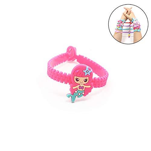 Beito 1pc Mermaid Silikon braceletmermaid Geburtstagsfeier bevorzugt Armbänder Kinder Regenbogen Armbänder Sortiert Kit Preis-Lieferungen (Wassermelone rot)