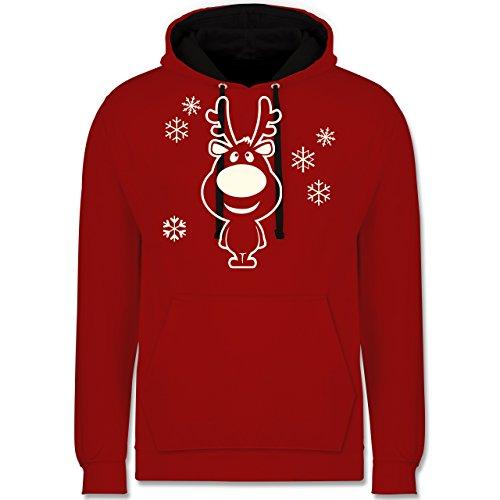 (Weihnachten & Silvester - Rentier Schneeflocken - XXL - Rot/Schwarz - JH003 - Kontrast Hoodie)