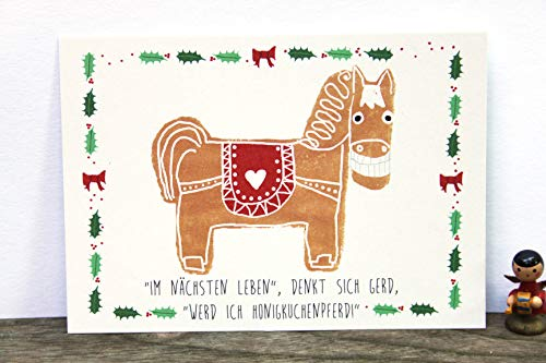 Postkarte Weihnachten Honigkuchenpferd Lebkuchen grinsen Honigkuchen