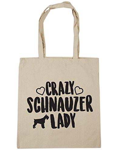 hippowarehouse-crazy-schnauzer-lady-tote-shopping-gym-beach-bag-42cm-x38cm-10-litres