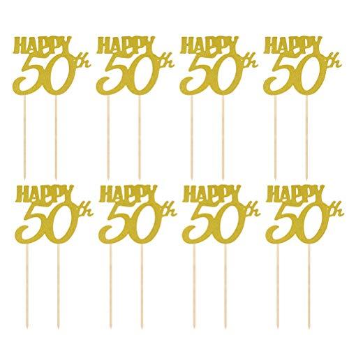 Amosfun 12 Stück Happy Birthday Cake Toppers 50th Cupcake Dekorationen Glitzer Cake Picks Party Supplies (Happy Birthday-dekorationen 50th)