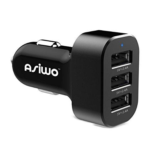Asiwo 3 USB KFZ-Ladegerät,Smart Ladekabel 7,2 A/36 W Auto Ladegerät Adapter compatible Für iPhone X 8 7 6S 6 Plus,Samsung Galaxy S9 S8 S7 S6 Edge,Note 8 5 4, LG,HTC,Nexus 6P,Pixel,iPad,MP3 und mehr (Usb-doppel-ladegerät)