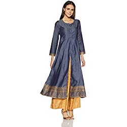 Biba Women's Straight Kurta (DENIM11927_Blue_36)