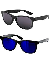 Younky Combo Of Uv Protected Branded Mercury Wayfarer Sunglasses For Men Women Boys & Girls ( Black_Wayfarer-_Blue_Wayfarer ) - 2 Sunglass Case