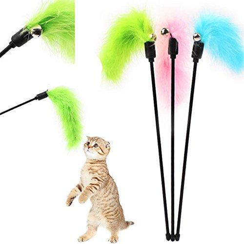 wicemoon 2interaktives Katzenspielzeug FUNNY PET CAT KITTEN Play Sticks Zauberstab, Rod Classic Künstliche Teaser mit Glocke (zufällige Farbe)