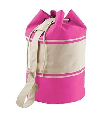 Quadra Unisex Canvas Duffle Cotton One Size Sports Gym Strong Shoulder Strap Bag - Fuchsia - Natural