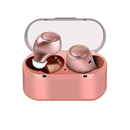 MMLC Outdoor Sport Kopfhörer Bluetooth Kopfhörer BT 5.0 IPX5 Wasserdichter Kopfhörer In-Ear-Funkkopfhörer Stereo-Ohrhörer Sport-Headset mit Rauschunterdrückung und Mikrofon mit Ladebox (Rose Gold) Outdoor-sport-kopfhörer