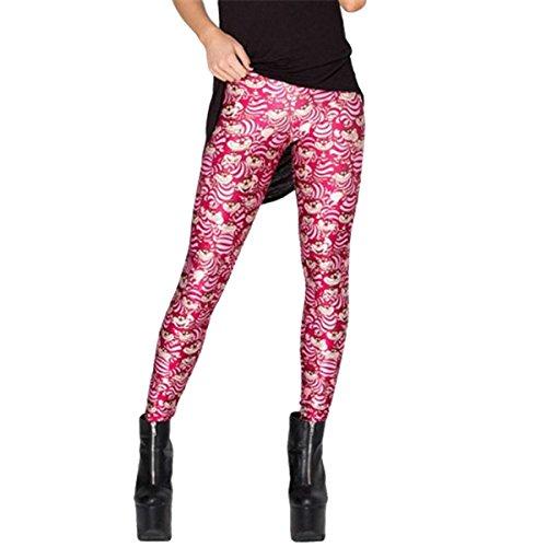 Weihnachten Damen Mädchen Frauen Europa Und Die Vereinigten Staaten Digitaldruck Alice Im Wunderland Slim Yoga Hosen Slips Leggings,Figure-S - Beschnitten Spandex-leggings