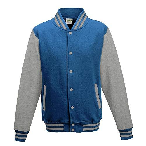 Just Hoods - Unisex College Jacke 'Varsity Jacket' BITTE DIE JH043 BESTELLEN! Gr. - S - Sapphire Blue/Heather Grey -