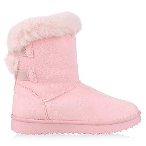 napoli-fashion Damen Schuhe Winter Stiefeletten Schlupfstiefel Kunstfell Gefüttert Jennika Rosa Rosa