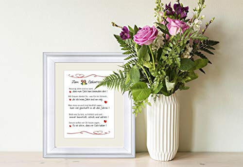 """""""Herzlichen Glückwunsch zum 90. Geburtstag"""" - liebevoll gestalteter Kunstdruck als Geschenk zum 90. Geburtstag - 24 x 30 cm mit Passepartout - ohne Rahmen"""