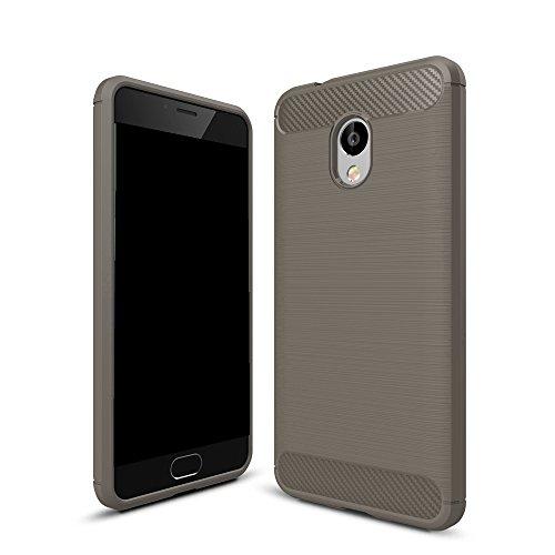 EKINHUI Case Cover Dünne und leichte, gebürstete Carbonfaser-robuste Rüstungsrückseiten-Abdeckungs-Stoßstange-Stoßdämpfer-Stoßdämpfer-Schutz-Schutzhülle für Meizu Meilan 5S ( Color : Gray ) Gray