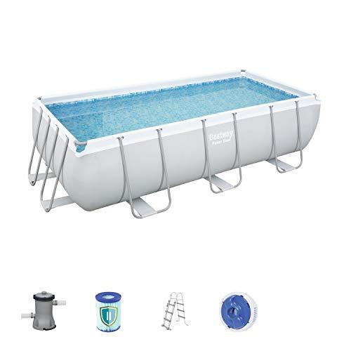 Bestway Power Steel Rectangular Frame Pool Set, Stahlrahmenpool Set mit Filterpumpe, 404 x 201 x 100 cm