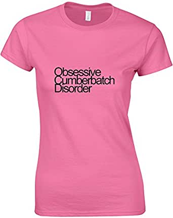 Obsessive Cumberbatch Disorder, Benedict Cumberbatch inspired Ladies Printed T-Shirt - Azalea/Black 2XL = 14-16