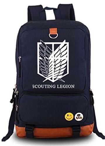 Siawasey Attack on Titan Anime Cosplay Luminous Rucksack Daypack Schultasche Laptop Schule Tasche (Blau)