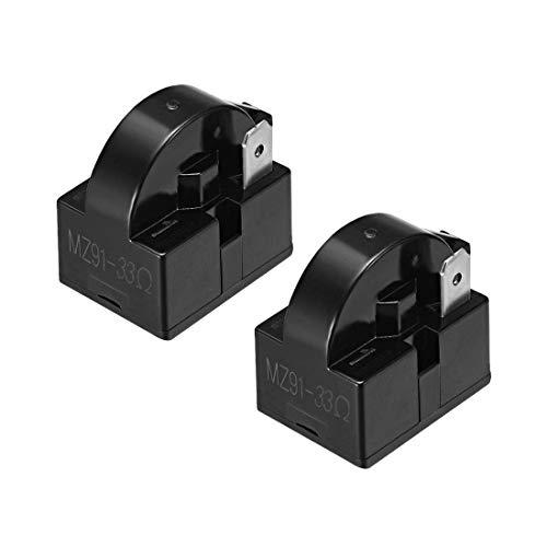 ZCHXD 2 Pcs 33 Ohm 1 Pin Refrigerator PTC Starter Relay Black - Ptc-pc