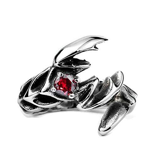 Blisfille Ring Schwarz Boho Herren Ringe Vintage Red Stone Ring Scorpion Ring Schwarz Silber Rot Gr. 70 (22.3) (Stone Red Vintage-ring)