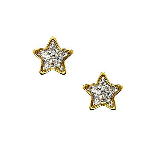 Studex Sensitive Ohrstecker vergoldet mit klaren Glitter Mitte Stern 6mm