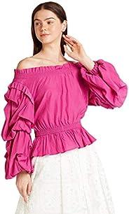 Iconic Women's 2091016 SS23PUFSLVTO Woven Body Blouse,