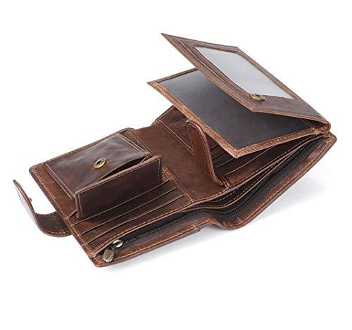 RosinKing Leder Wallet Herren Brieftasche Geldbörse Kreditkarteninhaber Reise-Wallet mit Münzbeutel, Weihnachtsgeschenke Geschenke für Frauen -