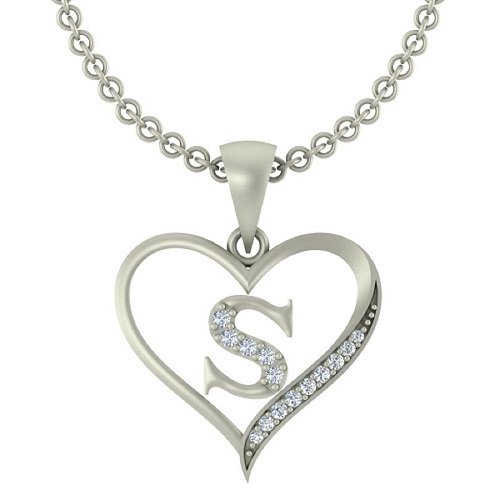 "Kanak Jewels Initial Letter ""S"" In Heart Shaped With Chain Silver Plated Cubic Zirconia Brass Pendant For Everyone"