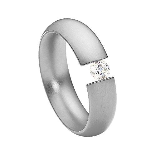 intensio matt Spannring mit Swarovski stein weiß 4 mm funkelt wie ein Diamant aus Edelstahl silber farbend Größe 60 (19.1) ()