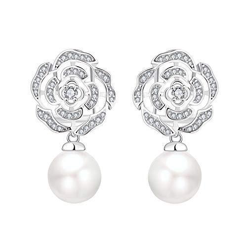 YL Silber Perlen Baumeln Ohrringe mit Rose Ohrringe-Perlenohrringe Silber mit 5A Zirkonia mit 10MM Perlen für Damenn