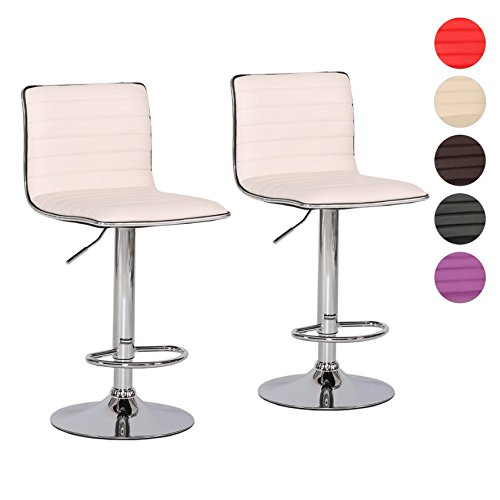 Essecke-sets, Esszimmer-möbel (Barhocker 2er Set Tresen-Stuhl verchromter Stahl Kunstleder gepolstert höhenverstellbar Farbwahl (weiß))
